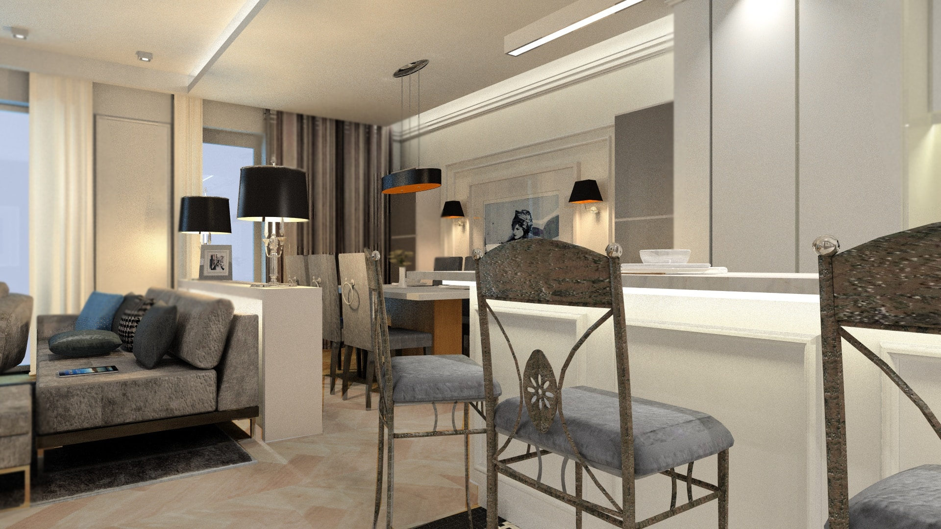 Projekt apartamentu w Wilanowie Bauart Studio